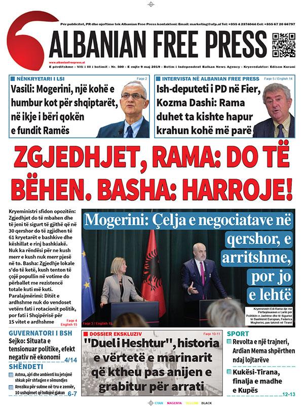 """Lexoni sot, e Enjte 9 Maj 2019 në gazetën """"Albanian Free Press"""""""