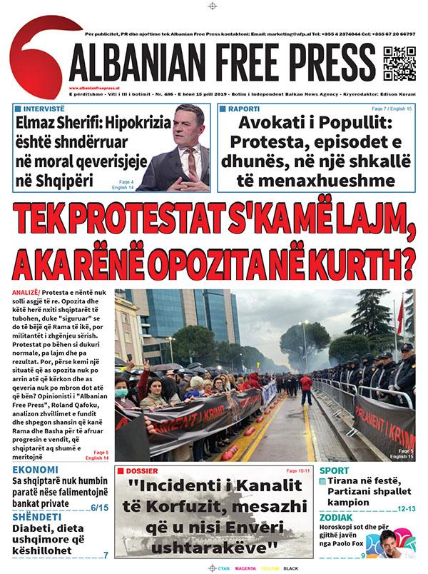 """Lexoni sot, e Hënë 15 Prill 2019 në gazetën """"Albanian Free Press"""""""