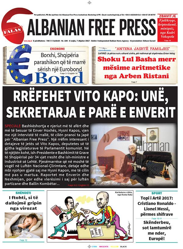 """Lexoni sot, 7 dhjetor 2017, në gazetën e përditshme """"Albanian Free Press"""""""