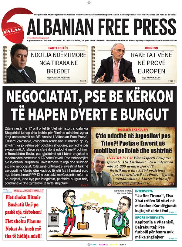 """Lexoni sot, 13 prill 2018, në gazetën e përditshme """"Albanian Free Press"""""""