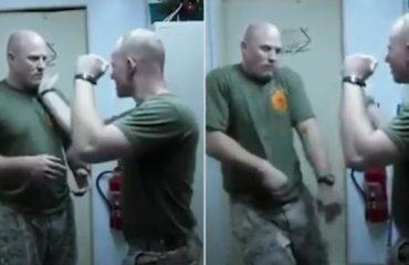 Ushtari lë pa ndjenja kolegun vetëm me një goditje (Video)