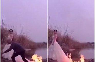 Nuses i merr flakë fustani për një set fotografik (Video)