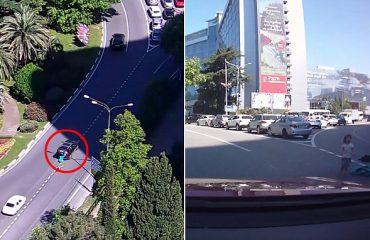 Fëmijët bien nga makina, mamaja vazhdon rrugën (Video)