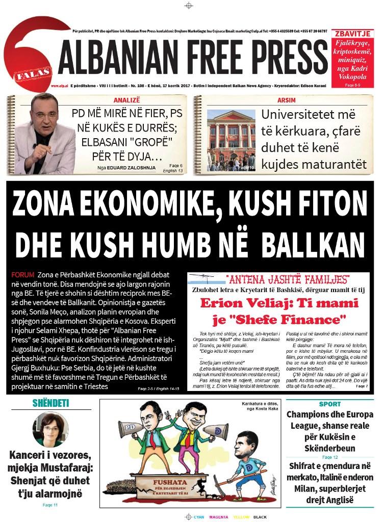 """Lexoni sot 17 korrik 2017 në gazetën e përditshme """"Albanian Free Press"""""""