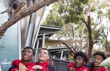 Ariu koala dhe kanguri çudisin Granit Xhakën në kopshtin zoologjik të Sidneit