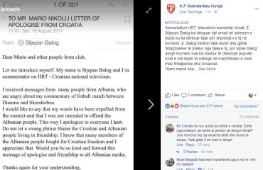 """Dinamo-Skënderbeu / I quajti shqiptarët """"shitës akulloresh"""", kërkon ndjesë publike komentatori kroat"""
