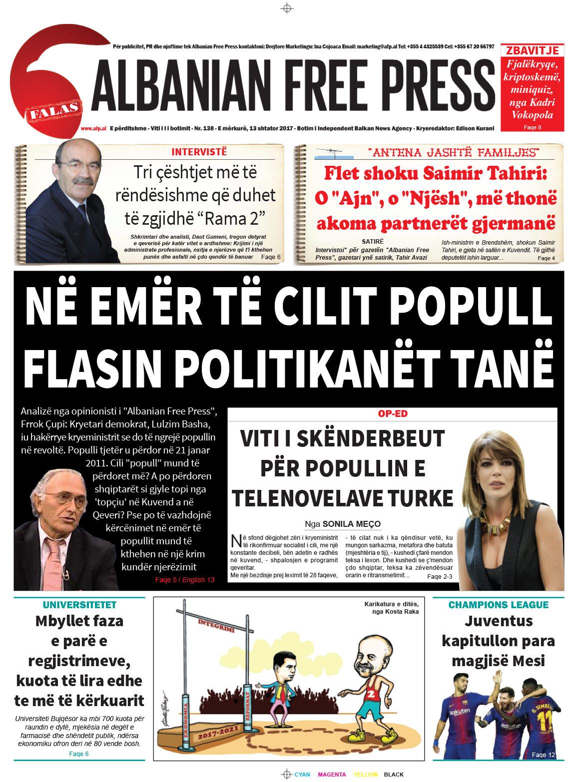 """Lexoni sot 13 shtator 2017 në gazetën e përditshme """"Albanian Free Press"""""""