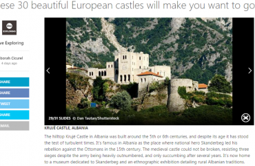 Kalaja e Krujës, ndër 30 kështjellat që rekomandohet të vizitohen