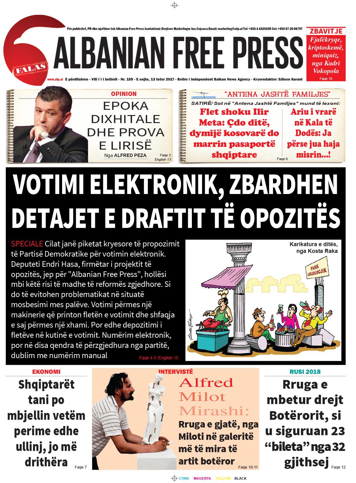"""Lexoni sot 12 tetor 2017 në gazetën e përditshme """"Albanian Free Press"""""""