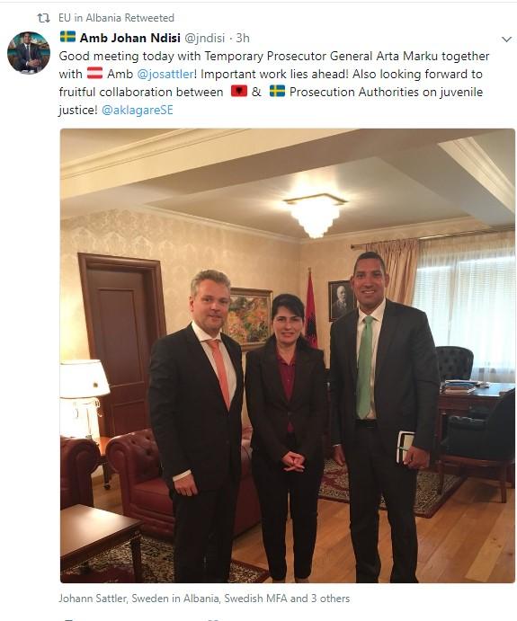Kryprokurorja Marku pret në zyrë ambasadorët e huaj të akredituar në Shqipëri