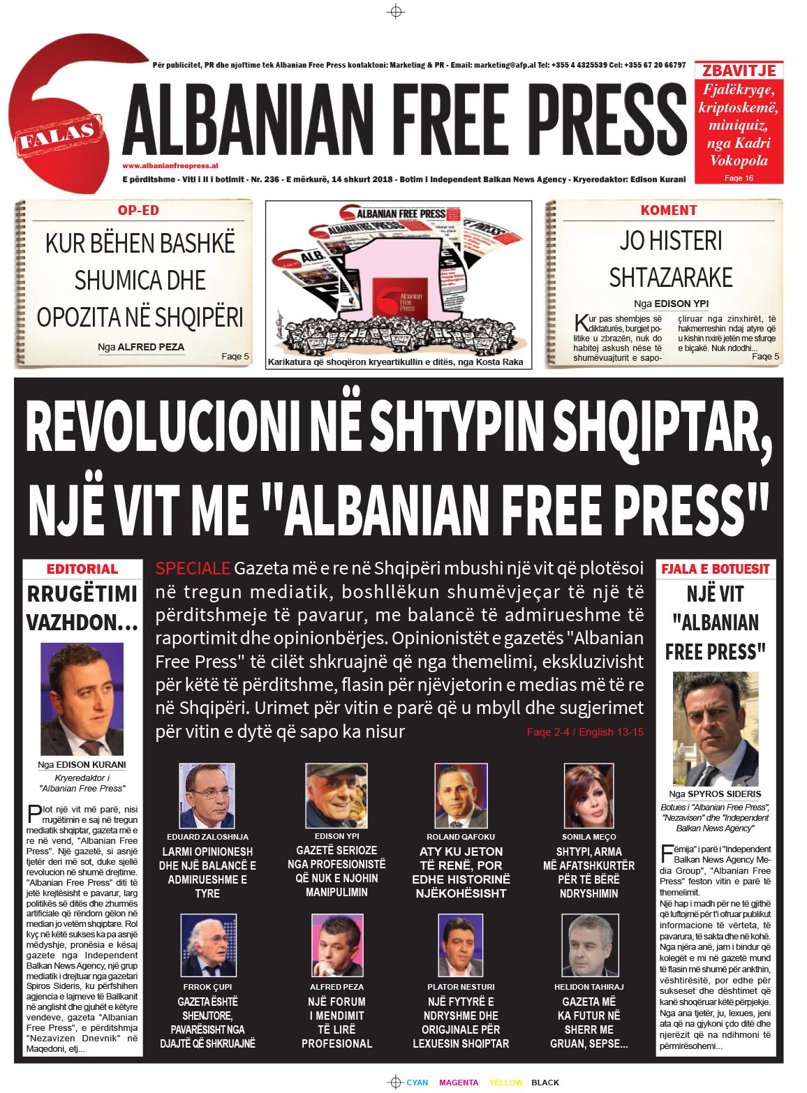 """Lexoni sot, 14 shkurt 2018, në gazetën e përditshme """"Albanian Free Press"""""""