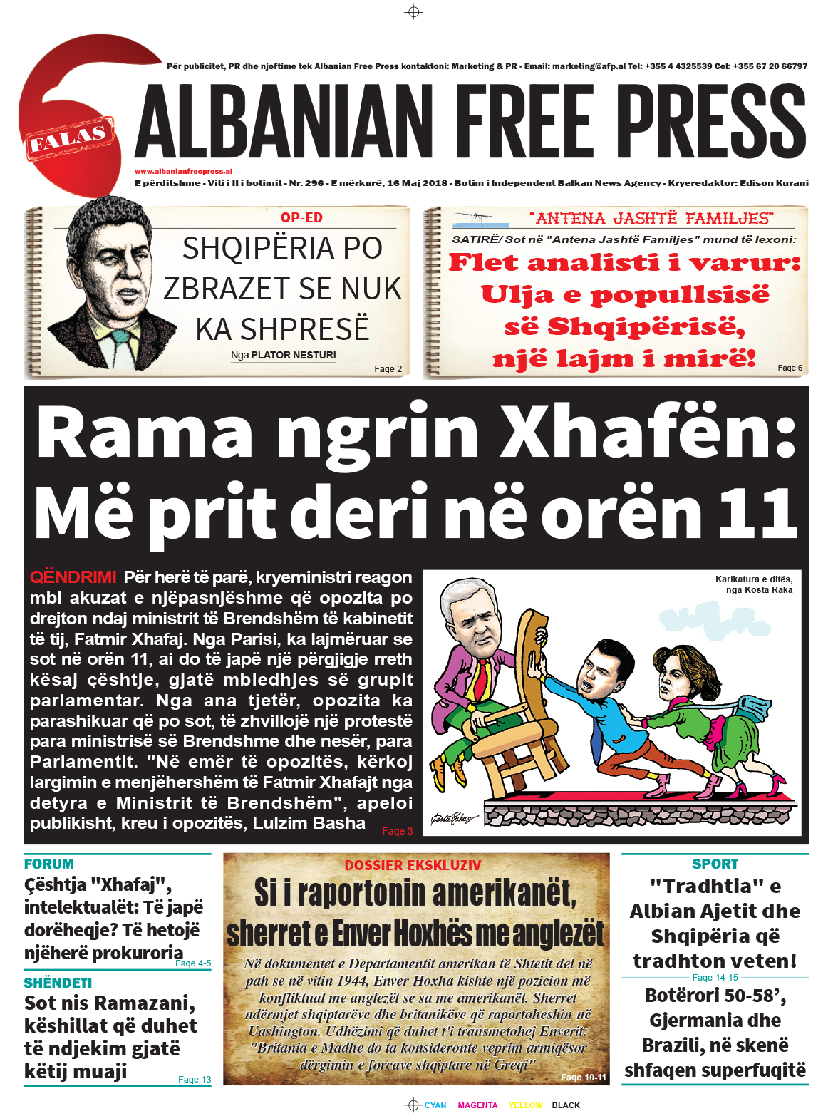 """Lexoni sot, 16 Maj 2018, në gazetën e përditshme """"Albanian Free Press"""""""