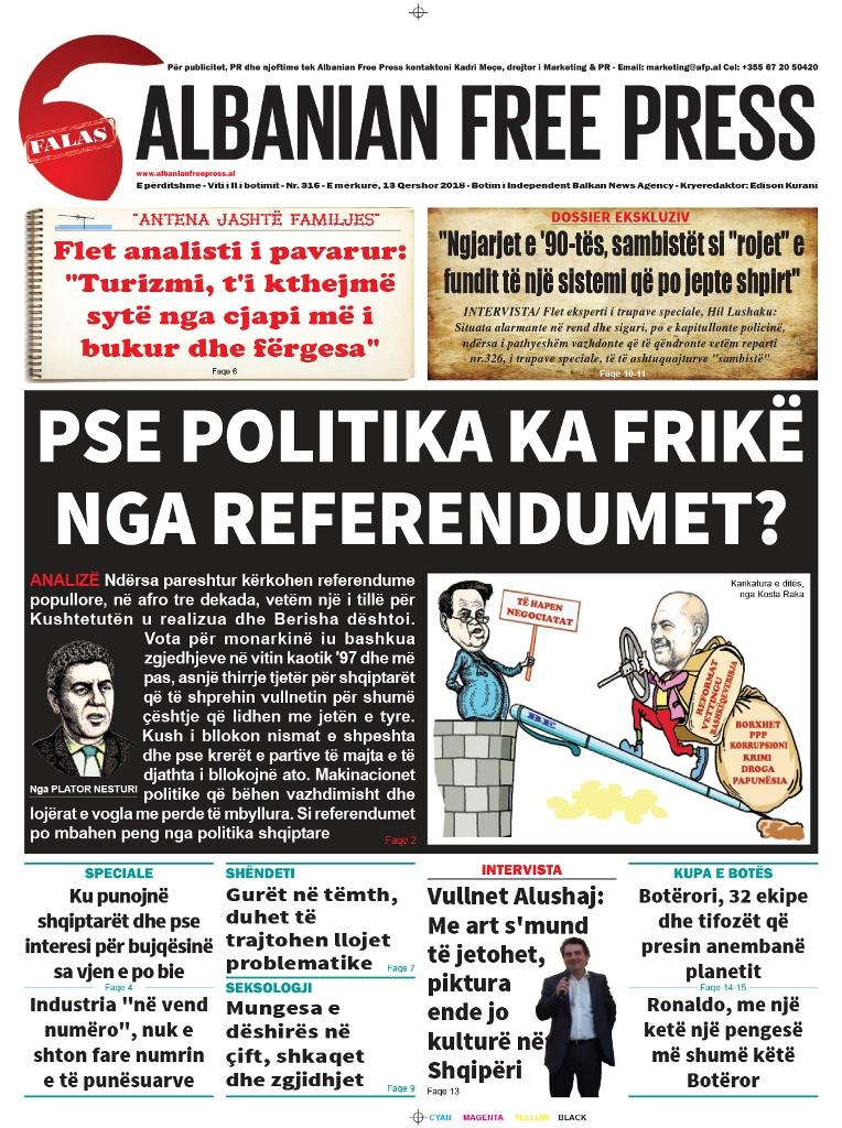 """Lexoni sot, 13 Qershor 2018, në gazetën e përditshme """"Albanian Free Press"""""""