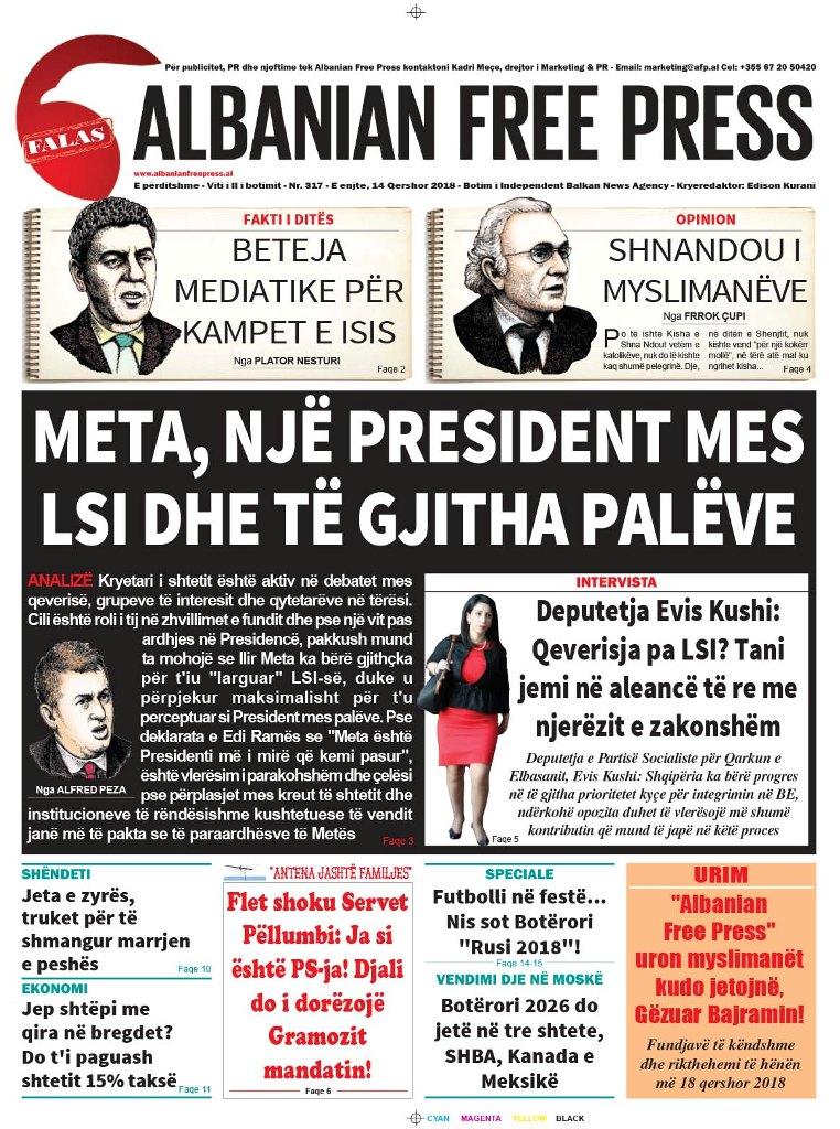 """Lexoni sot, 14 Qershor 2018, në gazetën e përditshme """"Albanian Free Press"""""""