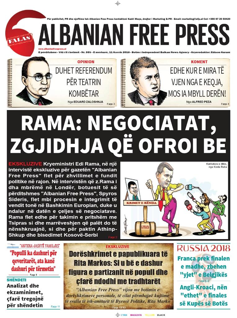 """Lexoni sot, 11 Korrik 2018, në gazetën e përditshme """"Albanian Free Press"""""""