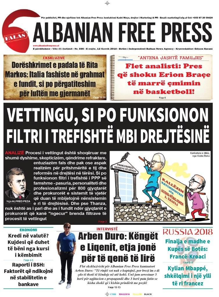 """Lexoni sot, 12 Korrik 2018, në gazetën e përditshme """"Albanian Free Press"""""""