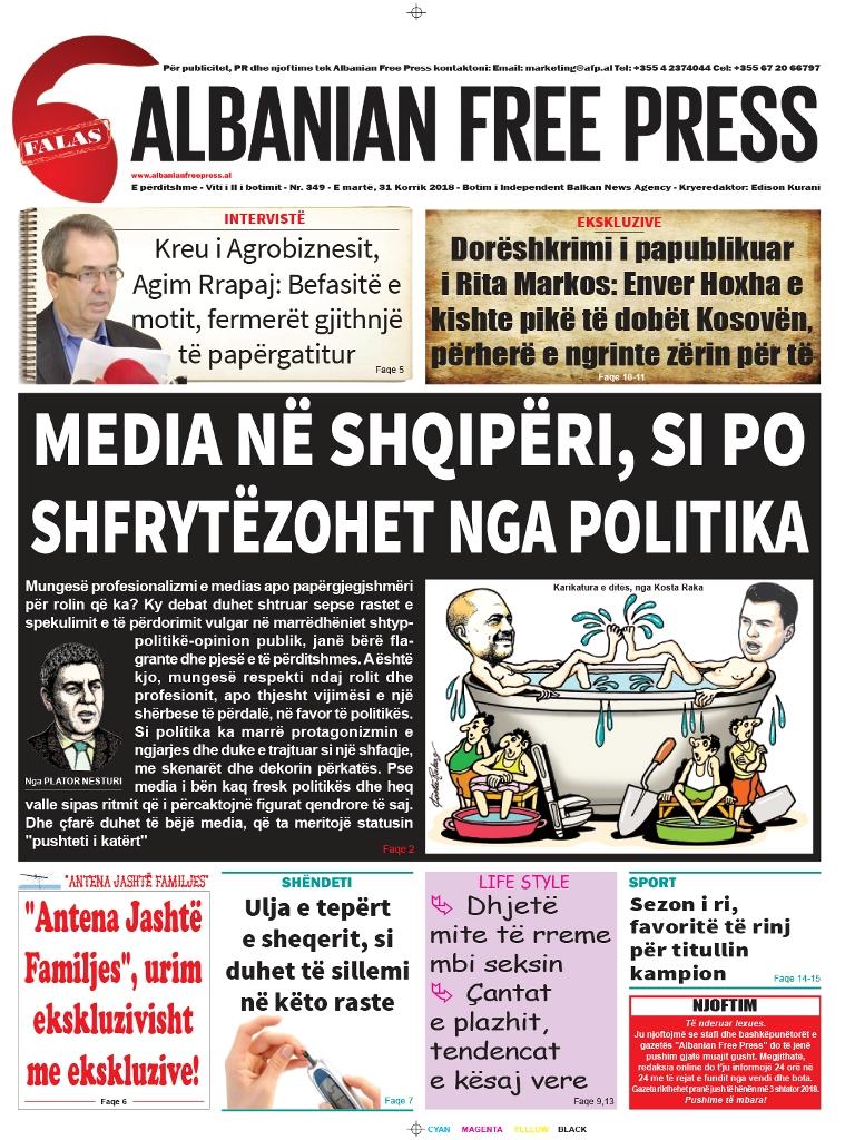 """Lexoni sot, 31 Korrik 2018, në gazetën e përditshme """"Albanian Free Press"""""""