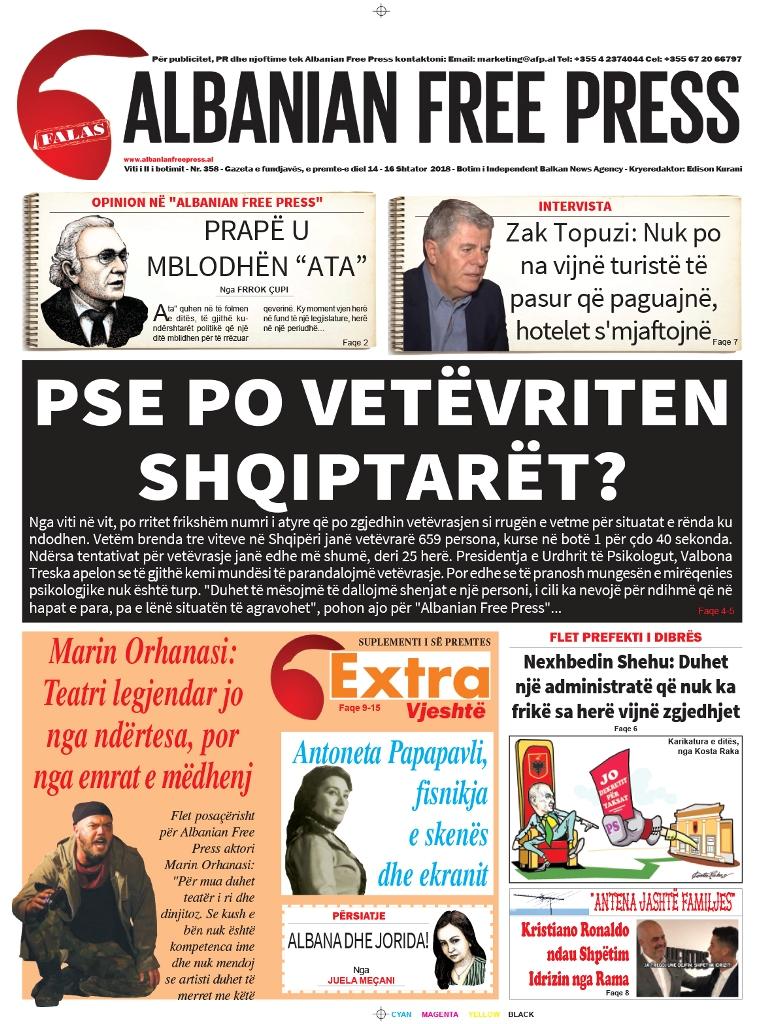 """Lexoni sot, 14 Shtator 2018, në gazetën e përditshme """"Albanian Free Press"""""""