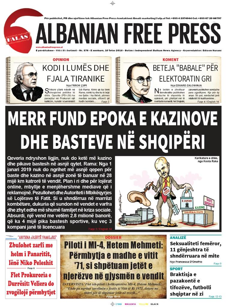 """Lexoni sot, 10 Tetor 2018, në gazetën e përditshme """"Albanian Free Press"""""""