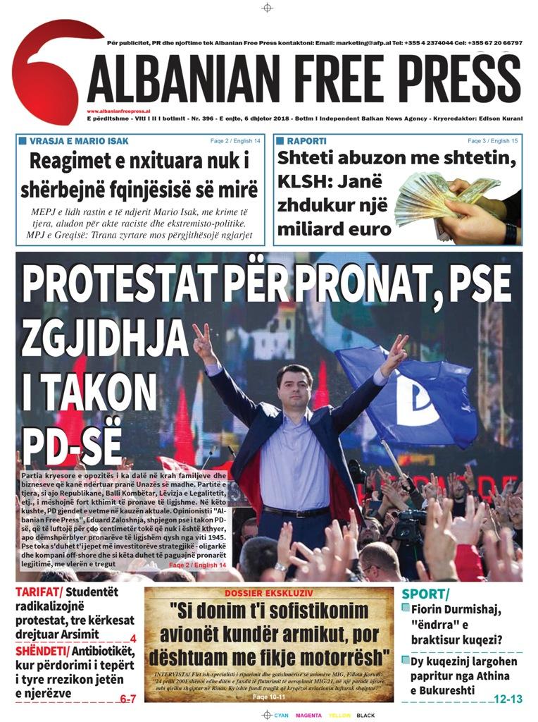 """Lexoni sot, 6 Dhjetor 2018, në gazetën e përditshme """"Albanian Free Press"""""""