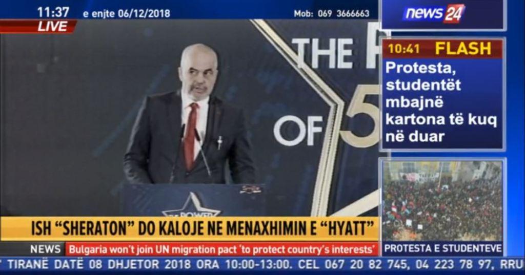 Ndërpritet transmetimi live i protestës së studentëve... flet Rama tek hoteli i Kastratit