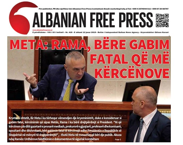 """Lexoni sot, e shtunë 12 Janar 2019 në gazetën """"Albanian Free Press"""""""