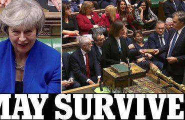 """Kryeministrja May i """"mbijeton"""" mocionit të mosbesimit, qeveria britanike vijon punën për Brexit"""