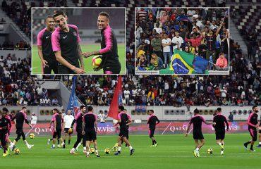 Yjet e PSG/ Neymar e Mbappe ndiqen nga 12,000 tifozë të Katarit në stërvitje