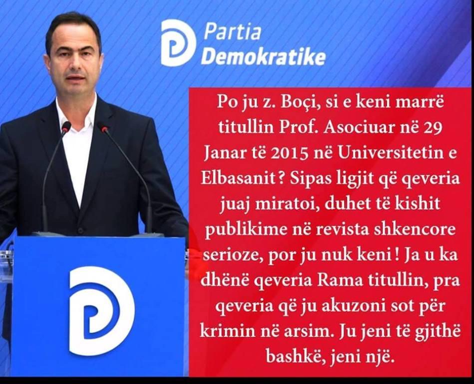 """""""PD dhe Henri Çili- shqetësimi real i hajdutit të titullit, profesorit të asociuar Luçiano Boçi!"""""""