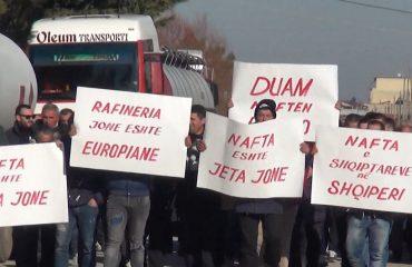 Rafineria në Ballsh dyer mbyllur prej një jave, 1 mijë punëtorë të papunë protestojnë
