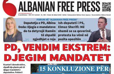 """Lexoni sot, e hënë 18 Shkurt 2019 në gazetën """"Albanian Free Press"""""""