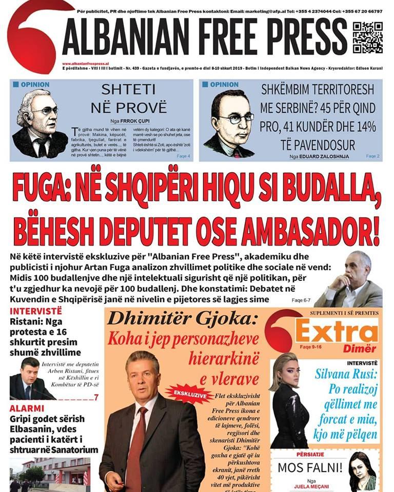 """Lexoni sot, 8 Shkurt 2019 në gazetën """"Albanian Free Press"""""""