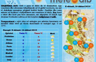 Edhe sot mot i kthjellët me vranësira të lehta, temperaturat ulen në mëngjes