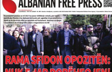 """Lexoni sot, e premte, 22 Shkurt 2019 në gazetën """"Albanian Free Press"""""""