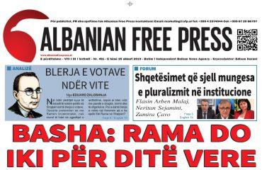 """Lexoni sot, e Hënë, 25 Shkurt 2019 në gazetën """"Albanian Free Press"""""""