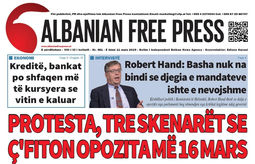"""Lexoni sot, e Hënë 11 Mars 2019 në gazetën """"Albanian Free Press"""""""