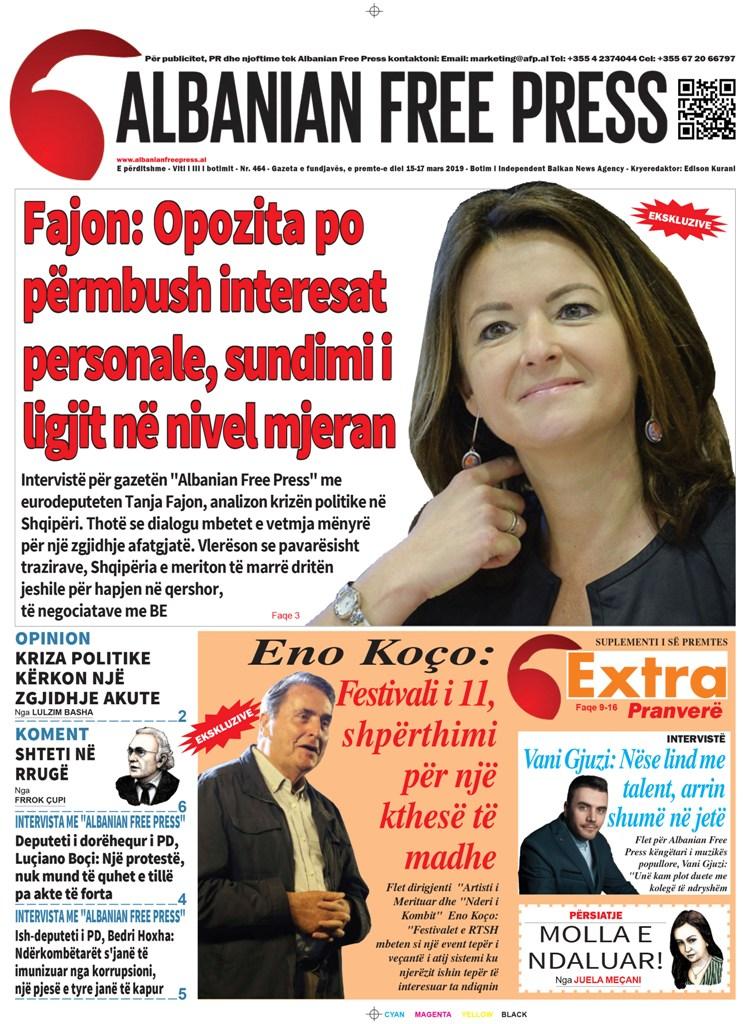 """Lexoni sot, e Premte 15 Mars 2019 në gazetën """"Albanian Free Press"""""""