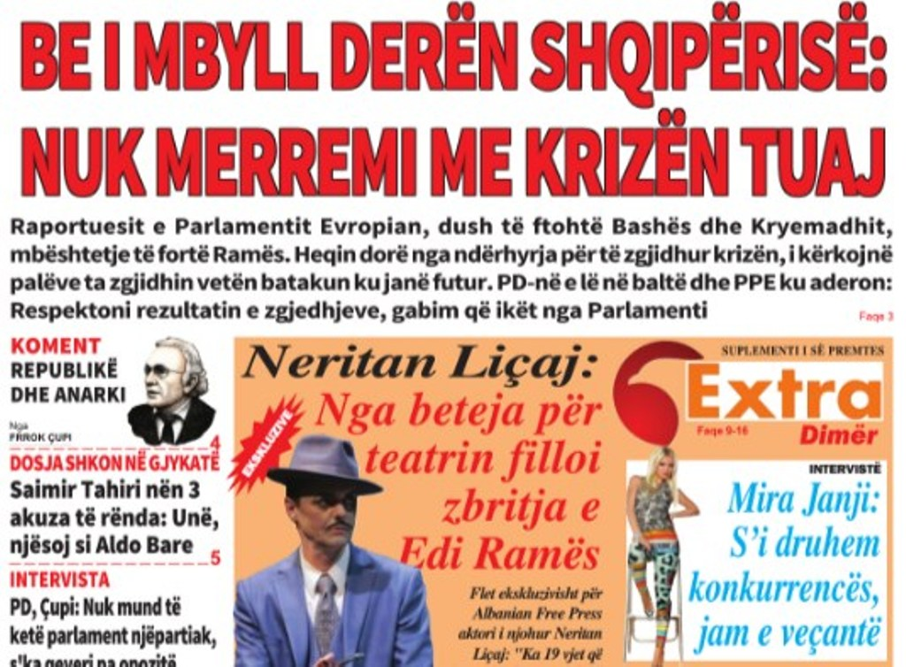 """Lexoni sot, e Premte, 1 Mars 2019 në gazetën """"Albanian Free Press"""""""