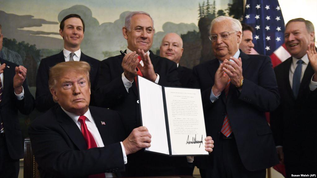 Presidenti Trump njeh zyrtarisht si territor të Izraelit Lartësitë Golan