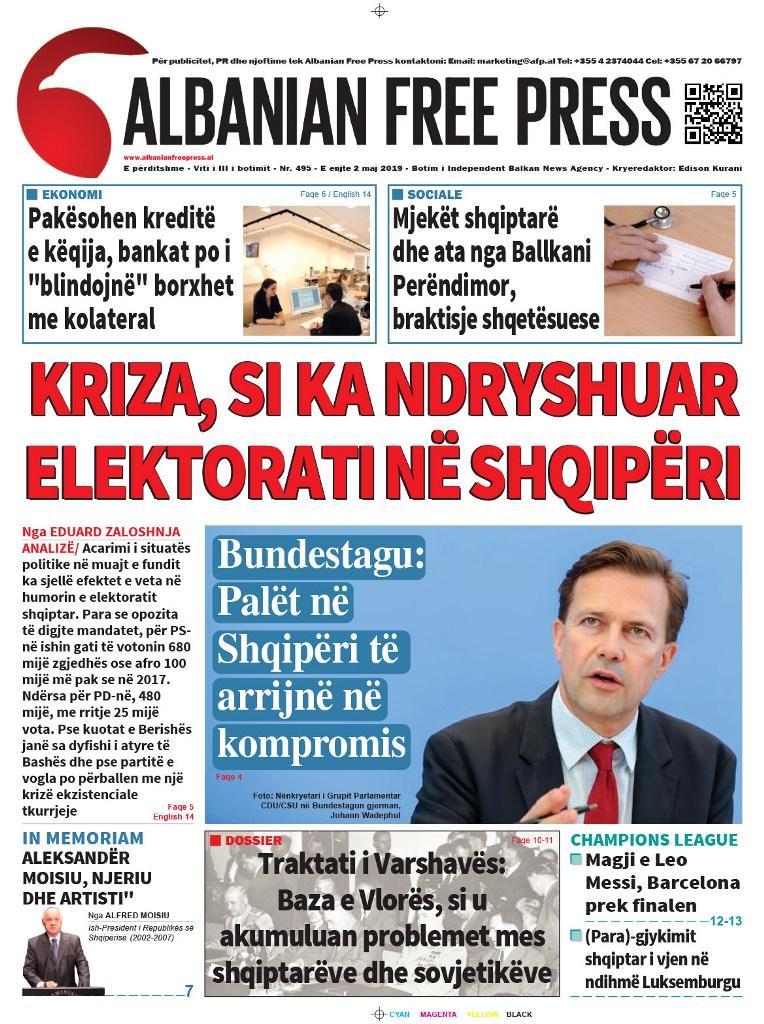 """Lexoni sot, e Enjte 2 Maj 2019 në gazetën """"Albanian Free Press"""""""
