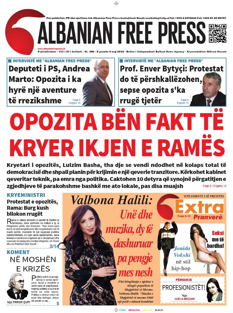"""Lexoni sot, e Premte 3 Maj 2019 në gazetën """"Albanian Free Press"""""""