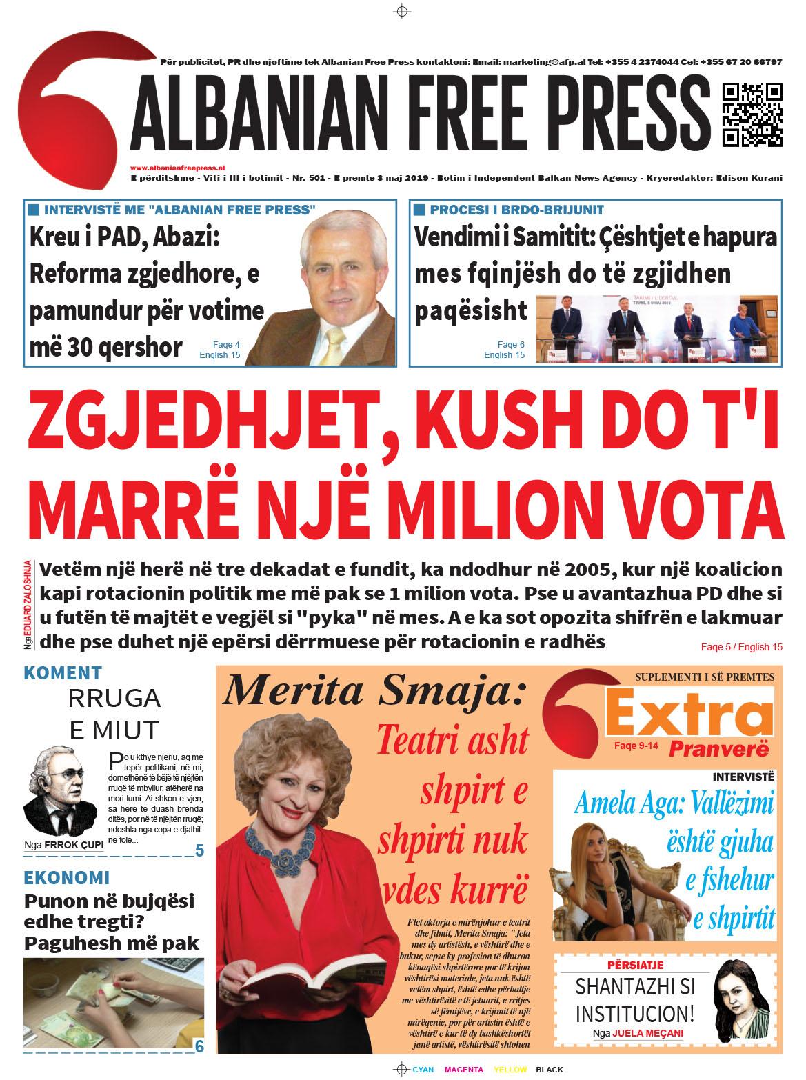 """Lexoni sot, e Premte 10 Maj 2019 në gazetën """"Albanian Free Press"""""""