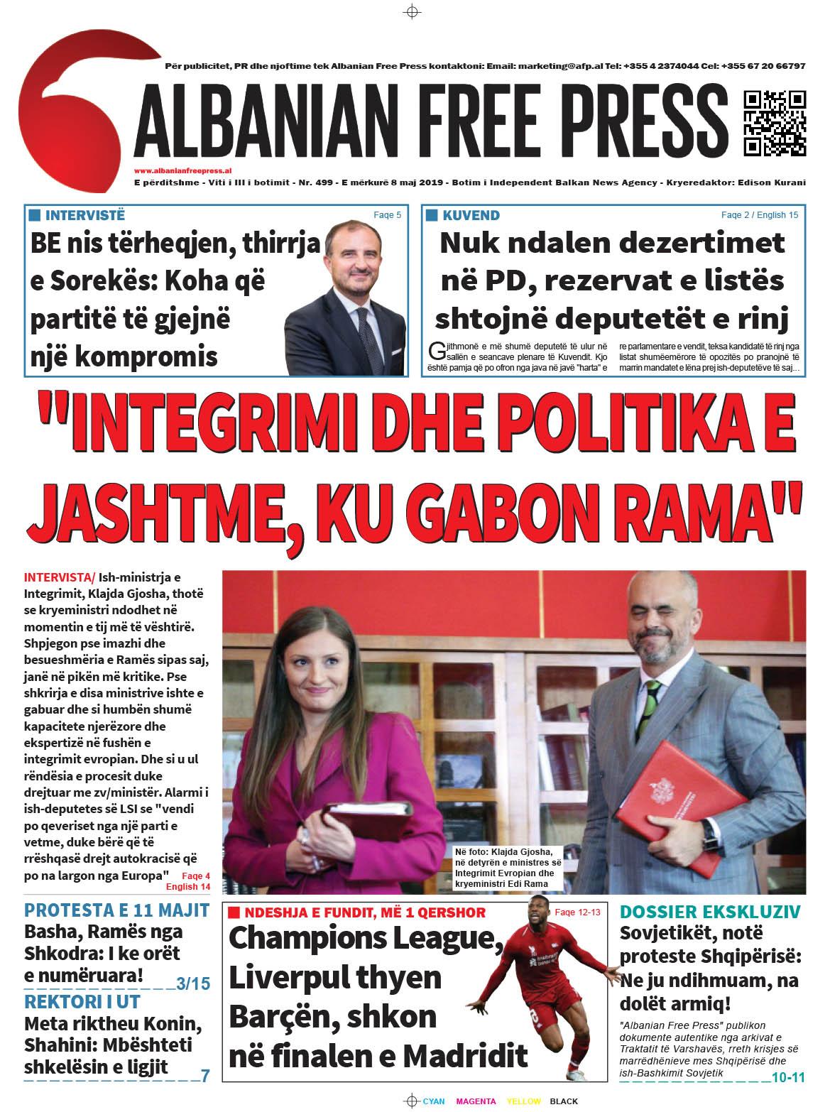 """Lexoni sot, e Mërkurë 8 Maj 2019 në gazetën """"Albanian Free Press"""""""
