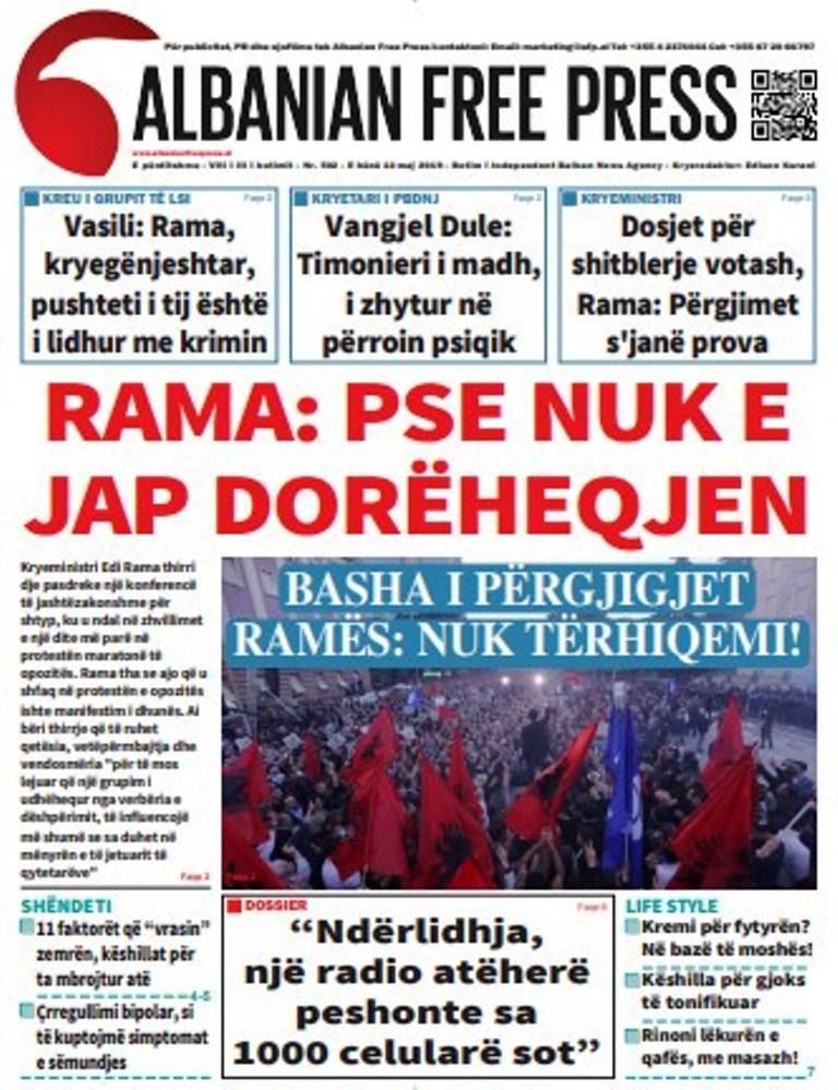 """Lexoni të Hënën 13 Maj 2019 në gazetën """"Albanian Free Press"""""""