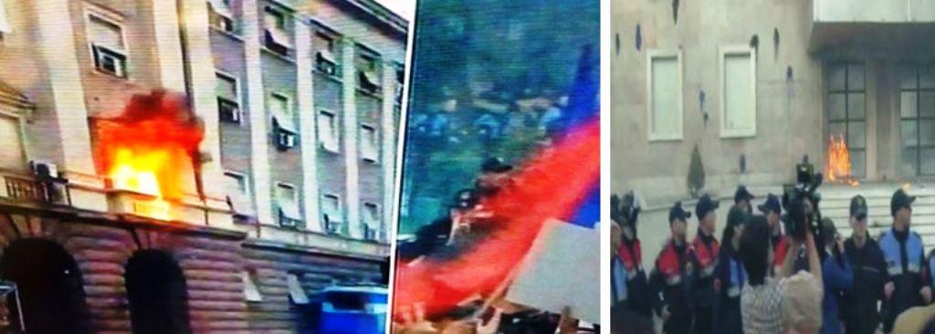 Protestuesit i venë flakën Kryeministrisë dhe Kryesisë së Kuvendit, përplasen me policinë