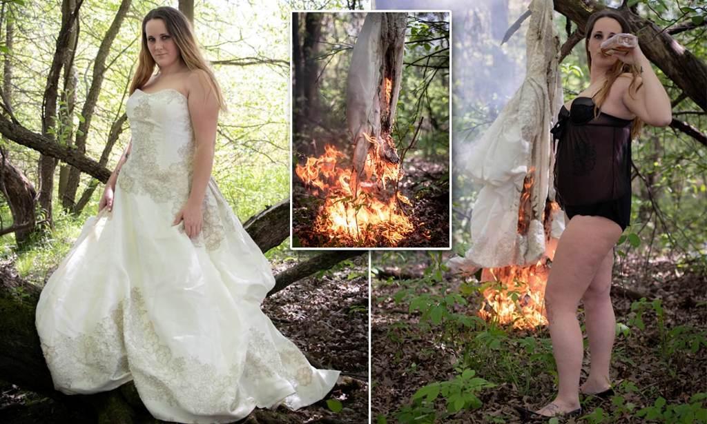 Kështu festohet divorci! Nëna e pesë fëmijëve djeg fustanin e nusërisë (Foto)