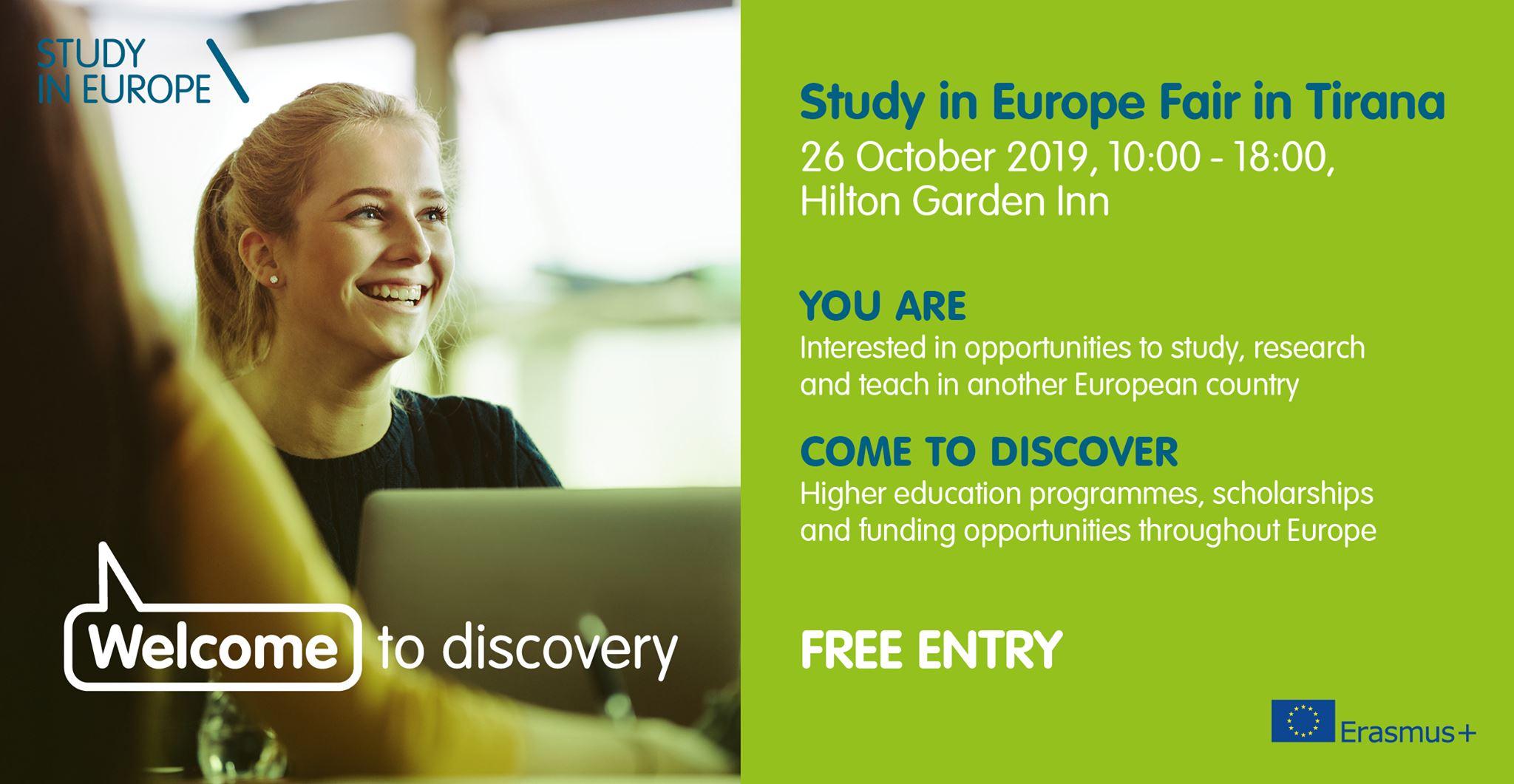 Panair për ata që duan të studiojnë  në Europë, Ambasada e BE-së në Tiranë fton të gjithë studentët